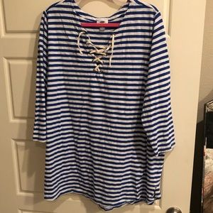 EUC Old Navy royal blue stripe lace up tee 3x